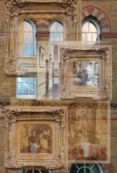 Large arched windows overlaid with picture frames and old photographs