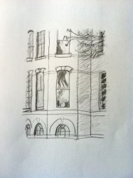 Pencil drawing of large oval topped window