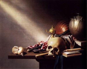 Still life with skull, books, shell and pot