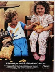 Teo children in 1980's sleepwear wrestle over crisps