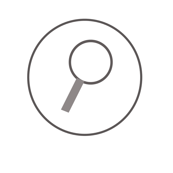 Graphic symbol of a magnifying glass in a circle