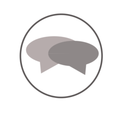Graphic symbol of two speech bubbles in a circle