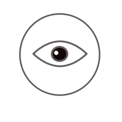 Graphic symbol of an eye in a circle