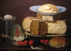 Still life painting of a large cheese with cherries and artichoke 17th Century