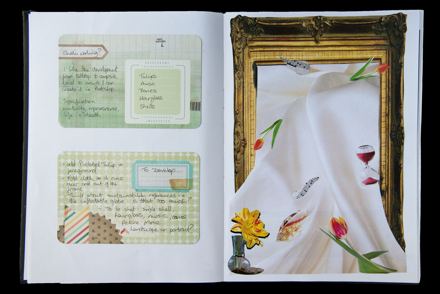 Artists sketchbook with a collage of a frame draped in cloth and objects