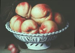 16th century painting of peaches in a pierced white ceramic dish
