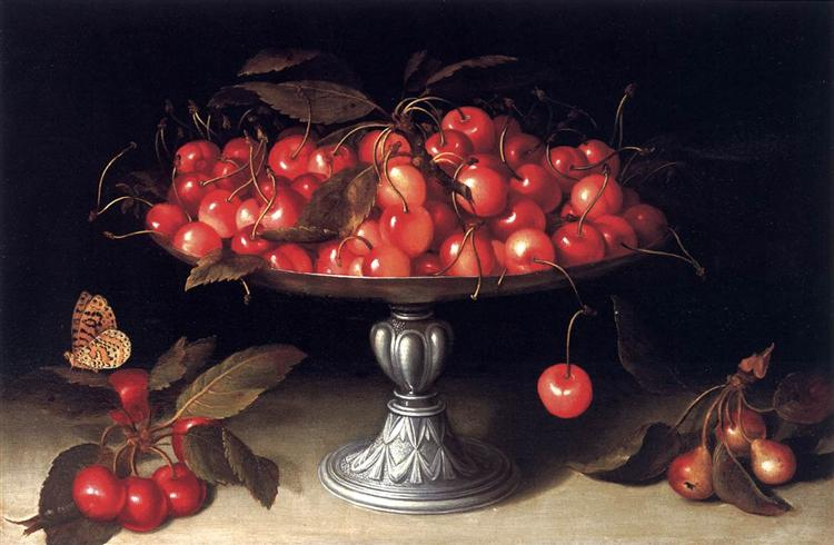 Painting of cherries piled high on a silver compote