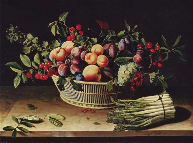 Painting of a basket of fruit on a table with a bunch of Asparagus