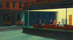Famous Hopper Painting of a yellow lit diner and three people being served