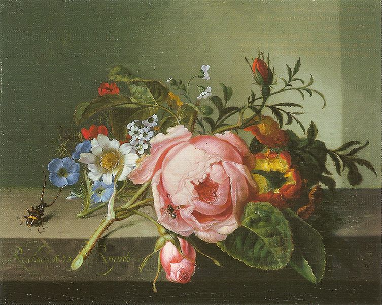 Painting of flowers on a table top with insects, 1741