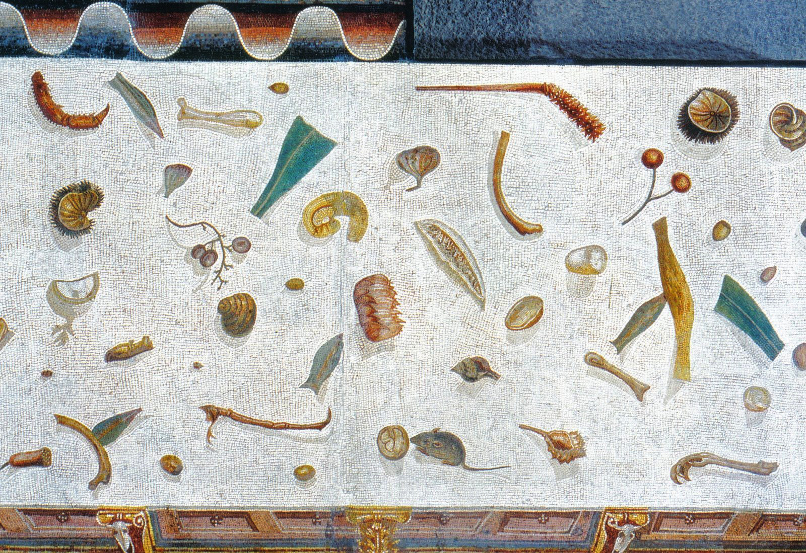 Roman Mosaic depicting foodstuff that has been dropped on the floor